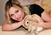 pic of dwarf rabbit  - portrait of a girl with a little dwarf rabbits   - JPG