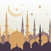 foto of moon silhouette  - Ramadan vector greeting card with silhouette of golden mosque moon and stars - JPG