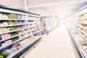picture of supermarket  - Supermarket blurry background with copy space - JPG