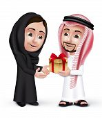 picture of lovers  - Realistic Saudi Arab Man Wearing Thobe Giving  Golden Gift with Red Ribbon in a Beautiful Woman Wearing Abaya as They are Lovers - JPG
