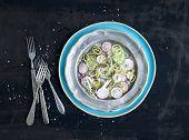 stock photo of leek  - Spring salad with leek - JPG