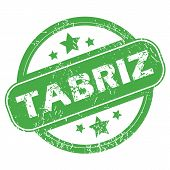 pic of tabriz  - Round green rubber stamp with name Tabriz and stars - JPG