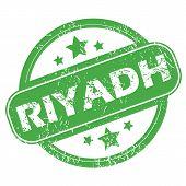 stock photo of riyadh  - Round green rubber stamp with name Riyadh and stars - JPG