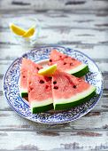 picture of watermelon slices  - Slices of watermelon on a plate - JPG