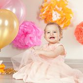 picture of kinky  - Happy Fancy Beautiful cute baby girl celebrates birthday one year - JPG