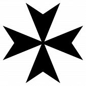 stock photo of maltese-cross  - Black silhouetted Maltese cross isolated on white background - JPG