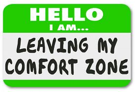 picture of experiments  - Hello I Am Leaving My Comfort Zone name tag sticker to illustrate bravery and courage in going beyond the familiar to new experiences and growth - JPG