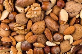 stock photo of brazil nut  - Variety of Mixed Nuts as a background  - JPG