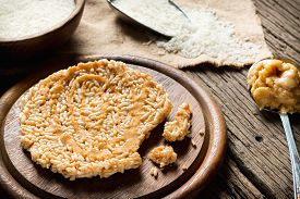 foto of crispy rice  - Crispy rice with topping coconut sugar sauce - JPG