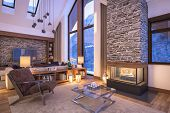 3D Rendering Of Evening Living Room Of Chalet poster