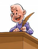 pic of youg  - a youg writer with a pen on a desk - JPG