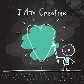 Positive affirmations for kids, motivational, inspirational concept vector illustration. I am creati poster