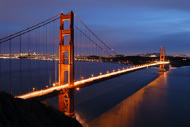 foto of golden gate bridge  - View of the Golden Gate Bridge in San Francisco at sunset - JPG