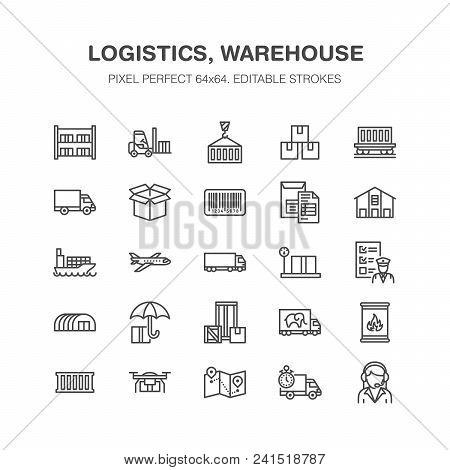 poster of Cargo Transportation Flat Line Icons Trucking, Express Delivery, Logistics, Shipping, Customs Cleara