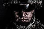 Cropped Close Up Portrait Of Us Special Operations Forces Soldier, Marine Raider, Modern Combatant I poster