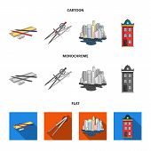 Drawing Accessories, Metropolis, House Model. Architecture Set Collection Icons In Cartoon, Flat, Mo poster