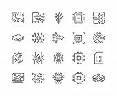 Simple Set Of Abstract Electronics Related Vector Line Icons. Contains Such Icons As Spider Bot, Chi poster