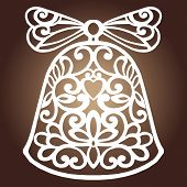 Laser Cut Paper Christmas Bell Decoration Vector Design. Merry Christmas Greeting Card. Christmas Be poster