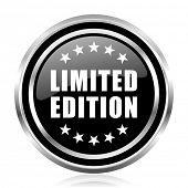 Limited edition black silver metallic chrome border glossy round web icon poster