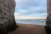 View Between Botany Bay White Cliffs At Sunset poster