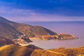 Greece Mani Peninsula. Sea Landscape Rocky Coastline With Old Stone Tower Houses, Peloponnese. poster