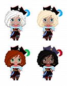 Set Of Little Girls Pirates Of Different Races, Hair And Eye Colors. Blonde, Platinum Blonde, Redhea poster