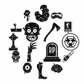 Zombie Icons Set Parts. Simple Illustration Of 16 Zombie Parts Vector Icons For Web poster