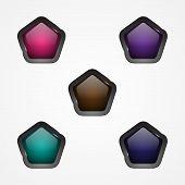 Set Design Vector Pentagon Button For Web Button Icon. Web Shiny Buttons. Vector Illustration Eps.8  poster