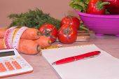 Healthy Natural Organic Food Diet, Ripe Harvest. Fruit Composition, Measuring Tape, Calculator. Diet poster