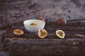 Healthy Rural Breakfast With Yogurt And Exotic Passion Fruit On Wooden Background. Cut Passion Fruit poster