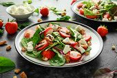 Summer Fruit Strawberry, Spinach Salad With Walnut, Feta Cheese Balsamic Vinegar, Kale. In A Plate.  poster