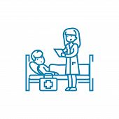 Calling A Doctor Line Icon, Vector Illustration. Calling A Doctor Linear Concept Sign. poster