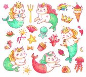 Mermaid Princess Kitty Cat Cartoon Characters. Colorful Underwater Sweet Cute Magic Fairy Cats Merma poster