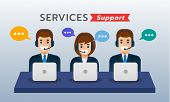 Male And Female Call Center Avatar Wearing Headset With Bubble Message Icon. Banner Design. Flat Vec poster
