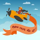 You Can Do It Lettering. Motivational And Inspirational Advertisment Poster. Cute Boy Pilot In Googl poster