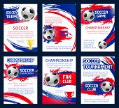 Vector World Soccer Championship Posters With Information. Soccer Team Club, Fun Club And Soccer Tou poster