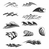 Ocean Waves Signs Black And White Colors Isolated On White Background. Vector Set With Sea Waves And poster