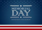 Vector Happy Memorial Day Blue Background With Text Remember And Honor - Memorial Day Greeting Card poster