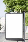 The blank metal billboard in the city