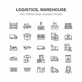 Cargo Transportation Flat Line Icons Trucking, Express Delivery, Logistics, Shipping, Customs Cleara poster