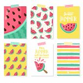 Set Of Summer Card With Watermelon, Palm Leaf. Hello Summer, Enjoy It, Fresh Summer, Good Vibe. Temp poster