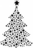 stock photo of seasons greetings  - Vector Christmas tree made with all different snowflakes  - JPG