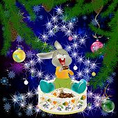 picture of have sweet dreams  - The small fantastic hare with pleasure has unpacked the celebratory New Year - JPG
