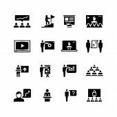 Presentation Business Event Symbols. Training Video Conference Icons. Students Class With Speaker Pi poster