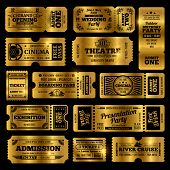 Circus, Party And Cinema Vector Vintage Admission Tickets Templates. Golden Tickets Isolated On Blac poster