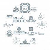 Nautical Sea Logo Icons Set. Simple Illustration Of 16 Nautical Sea Logo Vector Icons For Web poster