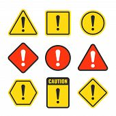 Exclamation Mark Beware Icons. Attention And Caution Signs. Hazard Warning Vector Symbol Isolated. I poster