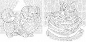 Coloring Pages. Cat On Pillows. Pekingese Or Japanese Chin Dog. Adult Coloring Book Idea. Antistress poster