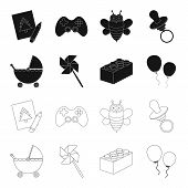 Stroller, Windmill, Lego, Balloons.toys Set Collection Icons In Black, Outline Style Vector Symbol S poster