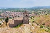 foto of calatabiano  - medieval chapel and view on seacoast in Sicily - JPG